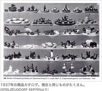 1937年の商品カタログ。現在と同じものがたくさん。(SPIELZEUGDORF SEIFFENより)
