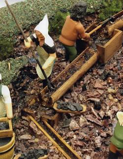 14世紀ごろ 川で鉱石を洗う(Gedrechselte Geschichteより出典)