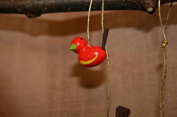 小鳥のペア赤・緑