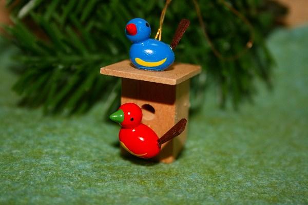 小鳥のペア巣箱付き 赤・青