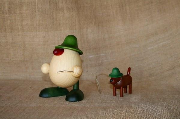 タマゴ頭ルディと犬 緑
